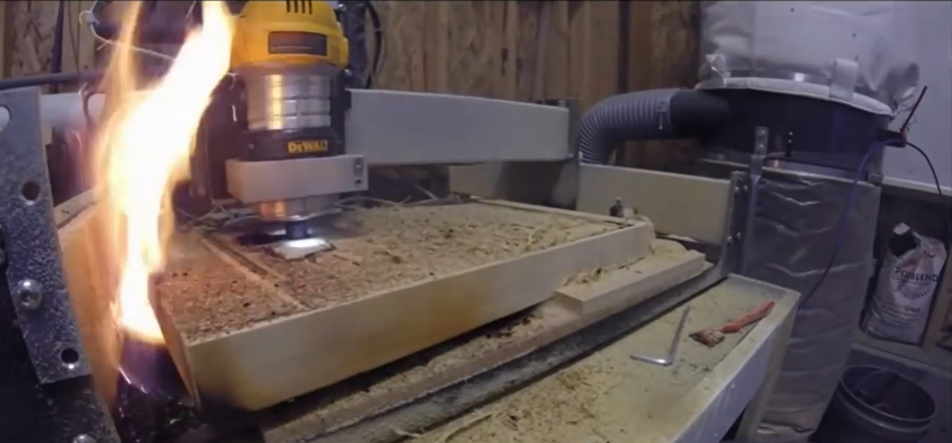 router cnc on fire